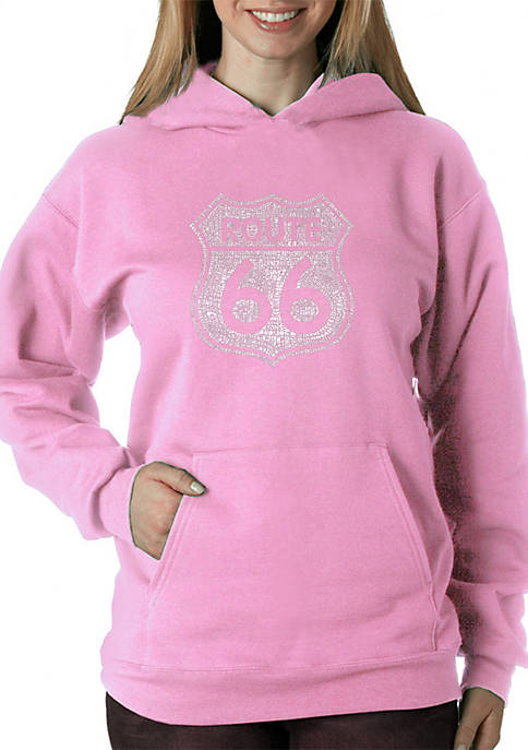 Word Art Hooded Sweatshirt - Cities Along the Legendary Route 66