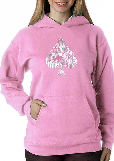 Word Art Hooded Sweatshirt - Order of Winning Poker Hands