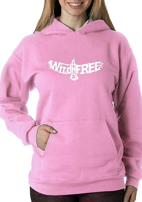 Word Art Hooded Sweatshirt - Wild and Free Eagle