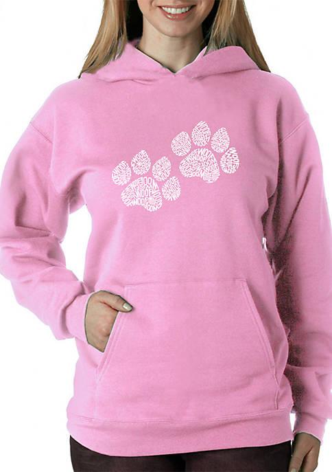 Word Art Hooded Sweatshirt - Woof Paw Prints