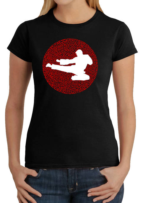 Womens Word Art Graphic T-Shirt -Types of Martial Arts