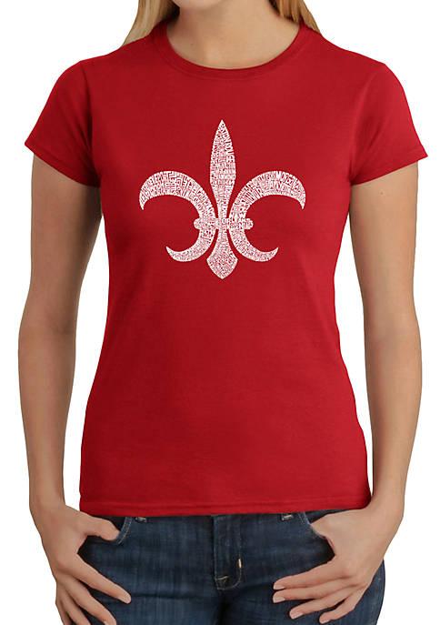 Word Art T-Shirt - Fleur de Lis - Popular Louisiana Cities
