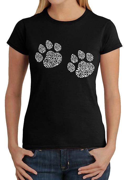 Word Art T-Shirt - Meow Cat Prints