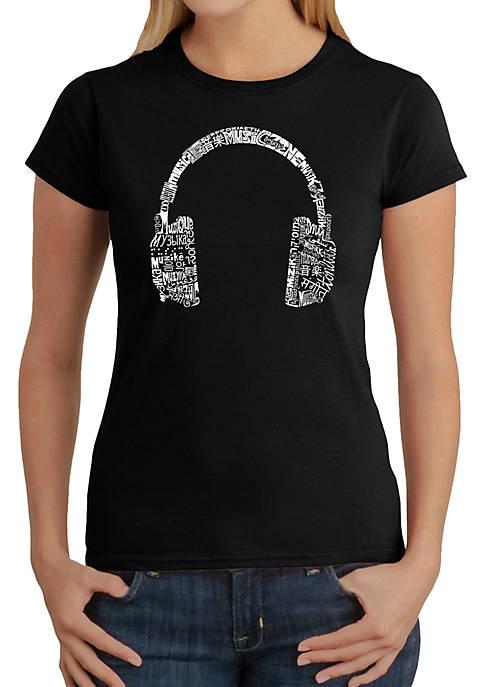 Word Art T-Shirt - Headphones - Languages