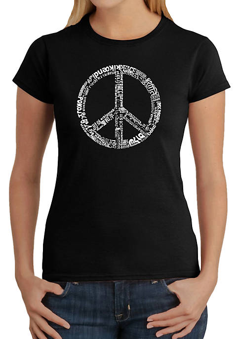 Word Art T-Shirt - The Word Peace in 77 Different Languages