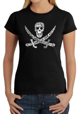 La Pop Art Womens Word Art T-Shirt - Pirate Captains, Ships And Imagery