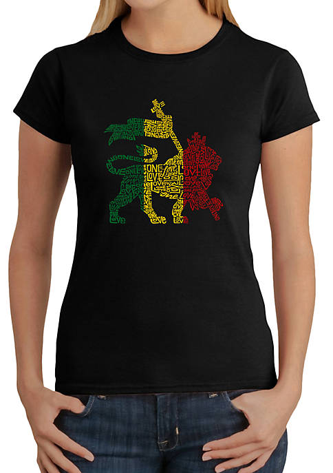 Word Art T-Shirt - Rasta Lion - One Love