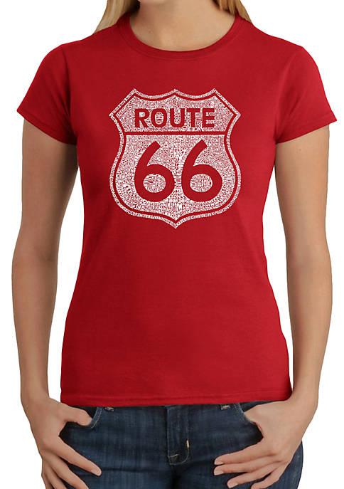 Word Art T-Shirt - Cities Along the Legendary Route 66
