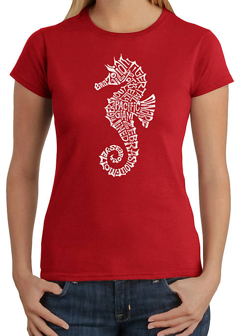 Word Art T-Shirt- Types of Seahorse