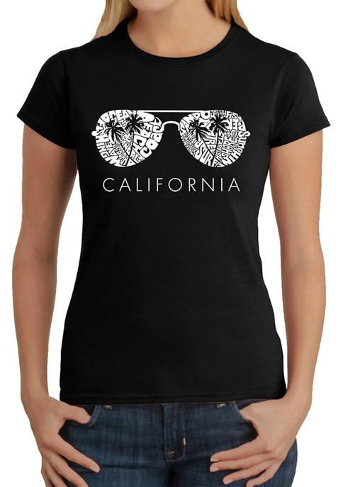 Womens Word Art Graphic T-Shirt - California Shades