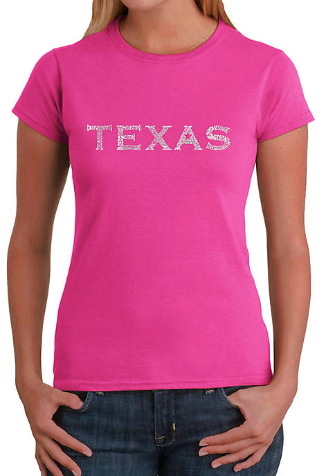 Word Art T-Shirt - The Great Cities of Texas