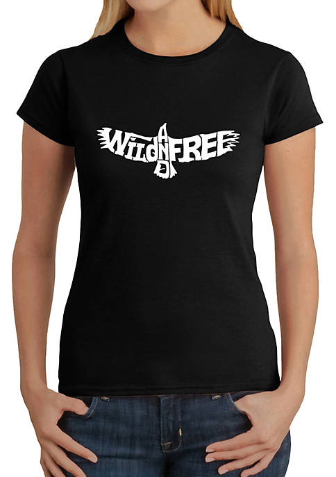 Word Art T-Shirt - Wild and Free Eagle
