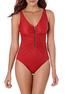 Trim Shaper Zoe Solid Zip Front One Piece Swimsuit