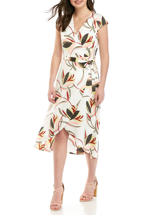 Womens Wrap Printed Midi Dress