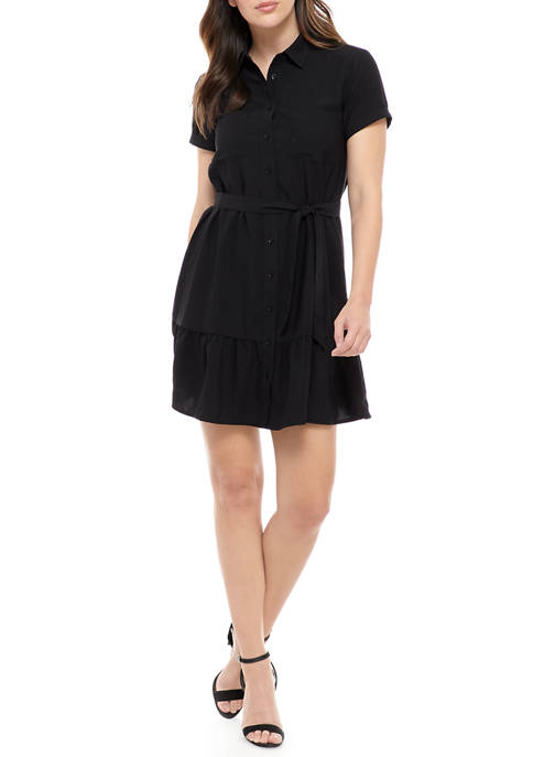 Madison Womens Ruffle Bottom Shirt Dress