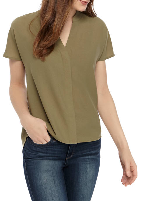 Madison Womens Short Sleeve Button Top