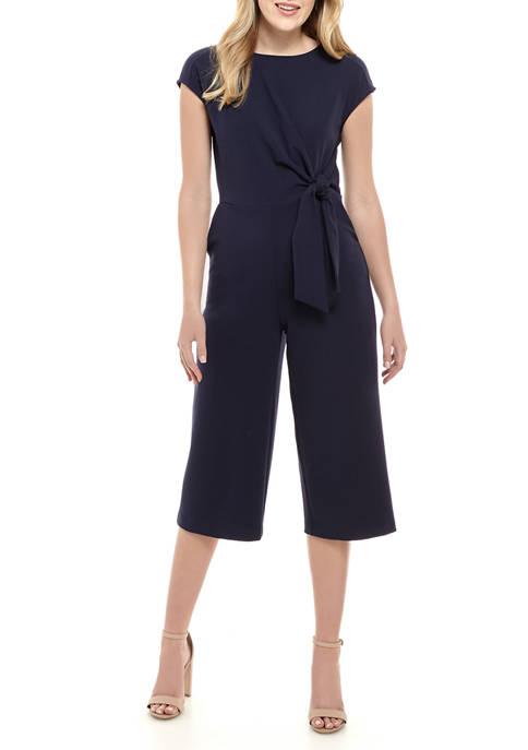 Womens Cap Sleeve Tie Waist Jumpsuit