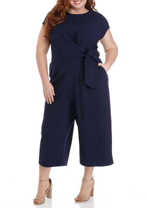 Plus Size Cap Sleeve Tie Waist Jumpsuit