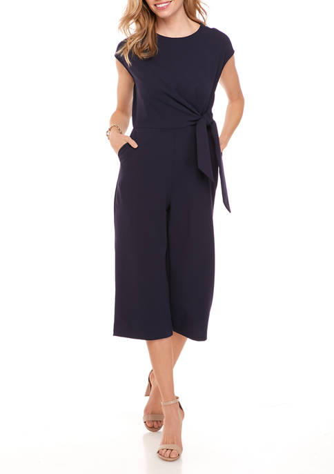 Petite Cap Sleeve Tie Waist Jumpsuit
