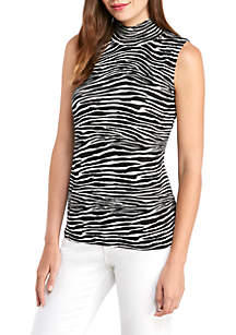 THE LIMITED Printed Sleeveless Rib Mock Neck Top