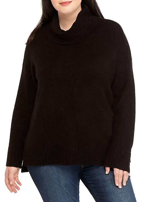 Plus Size Turtleneck Tunic Sweater