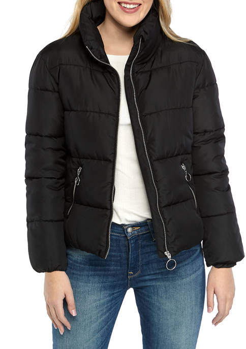 Womens Mock Neck Puffer Coat