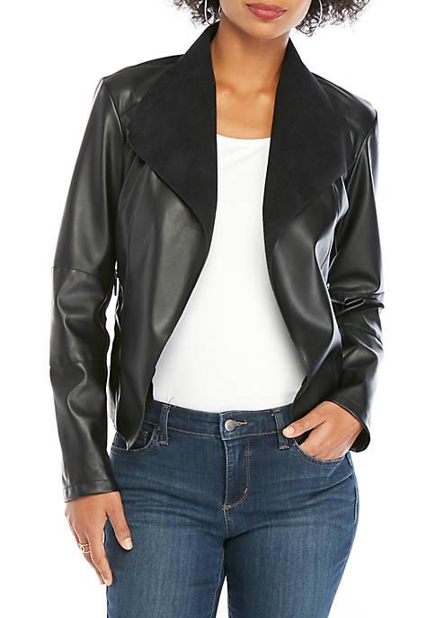 Drape Front Faux Suede Leather Jacket