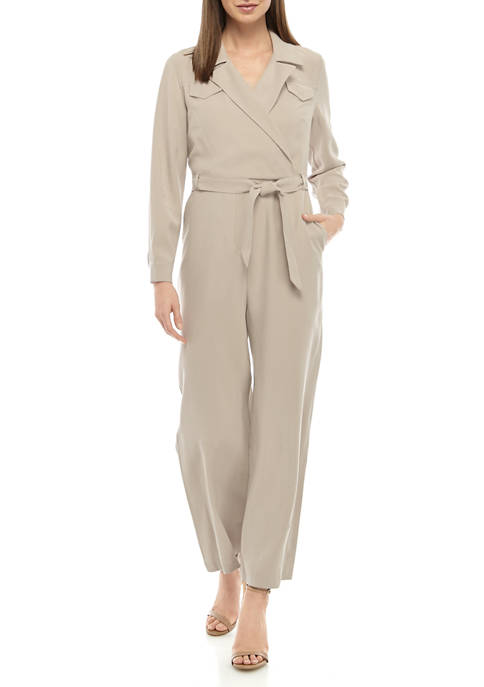 THE LIMITED Womens Suede Utility Wrap Jumpsuit