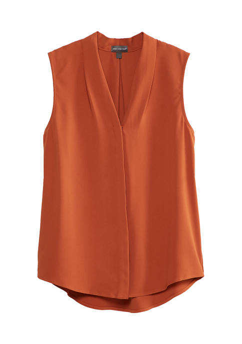 THE LIMITED Petite Sleeveless V-Neck Woven Shell Top