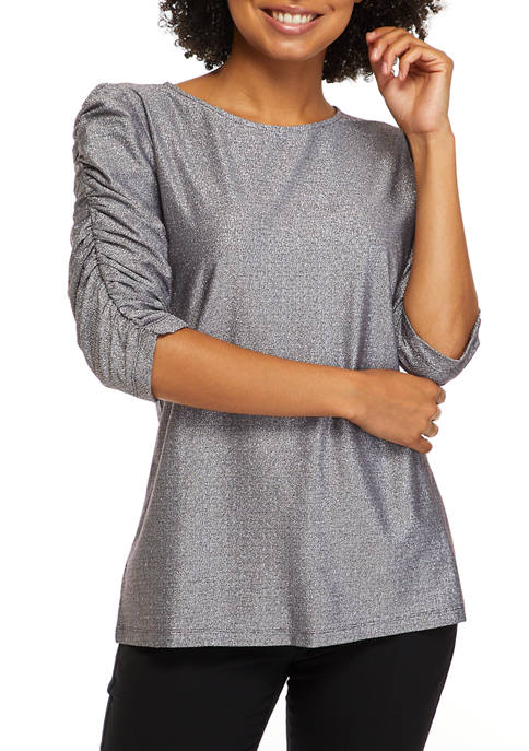 Womens Elbow Puff Sleeve Knit Top