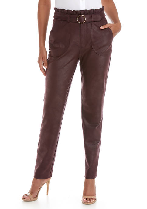 Womens Faux Leather Paper Bag Waist Pants