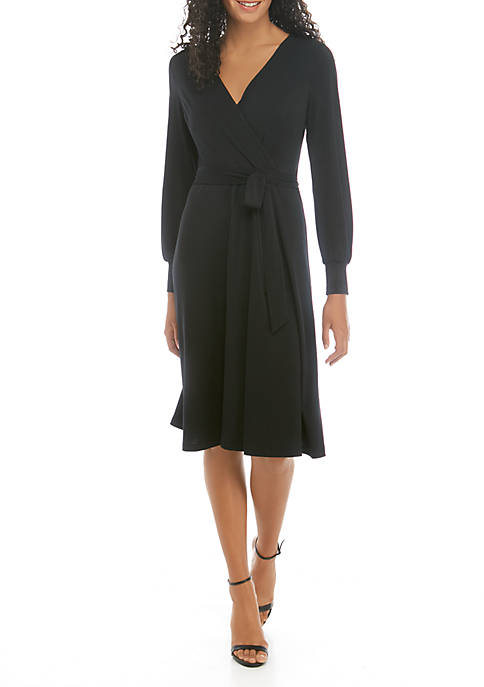 THE LIMITED Bishop Sleeve Tie Front Wrap Dress