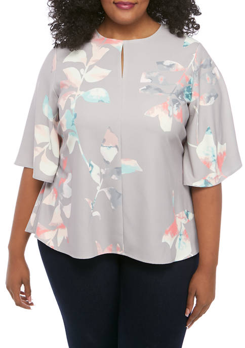 Plus Size Flutter Sleeve Tie Front Top