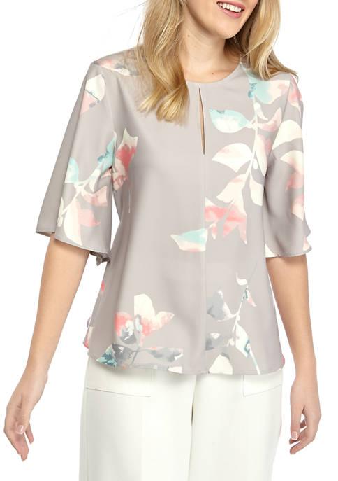 Womens Wide Flutter Sleeve Tie Front Blouse