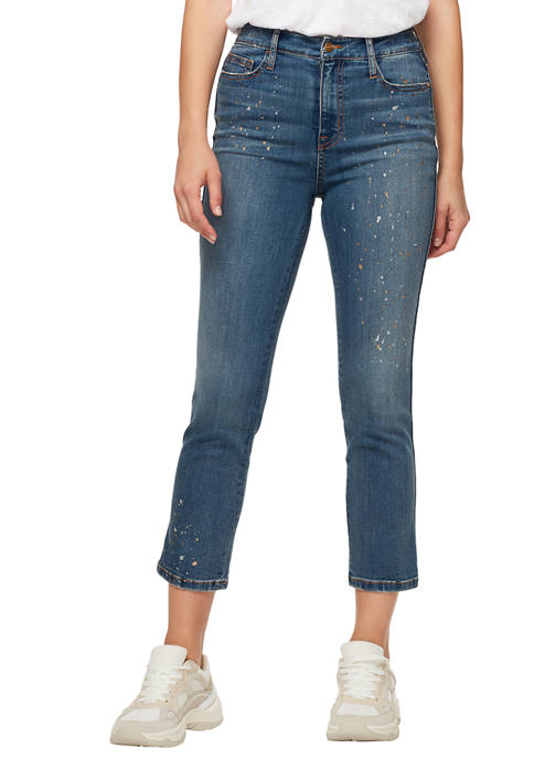 Womens High Rise Cropped Glitter Jeans