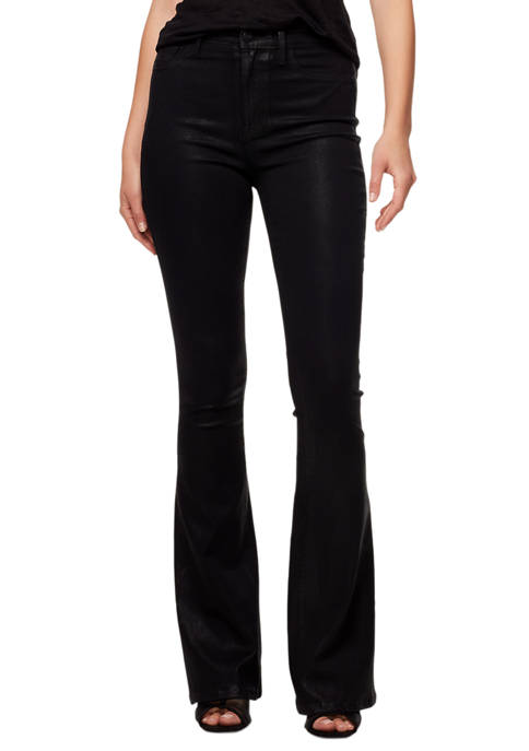 Womens High Rise Coated Flare Jeans