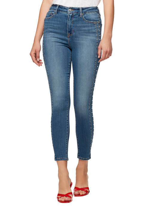 Womens Social Standard Skinny Ankle with Side Embellishment Jeans