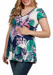 Maternity Palm Leaf Short Sleeve V Neck Tunic Top