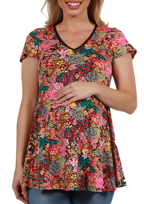 Maternity Floral Short Sleeve V Neck Tunic Top
