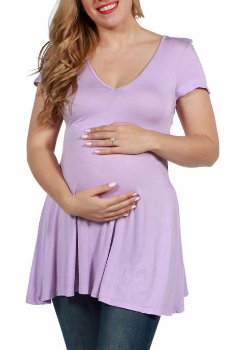 24seven Comfort Apparel Maternity Short Sleeve V Neck