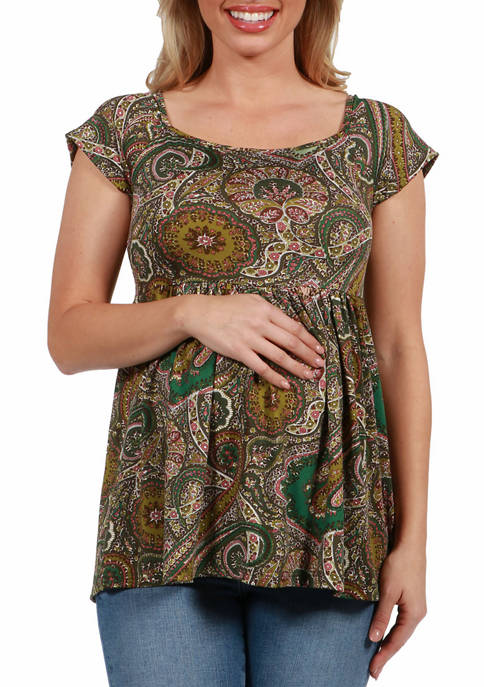 24seven Comfort Apparel Womens Maternity Paisley Pleated Short