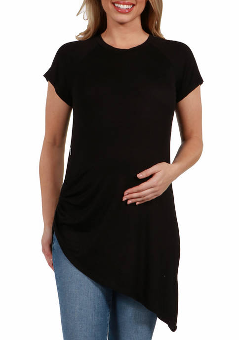24seven Comfort Apparel Womens Maternity Asymmetric Short Sleeve