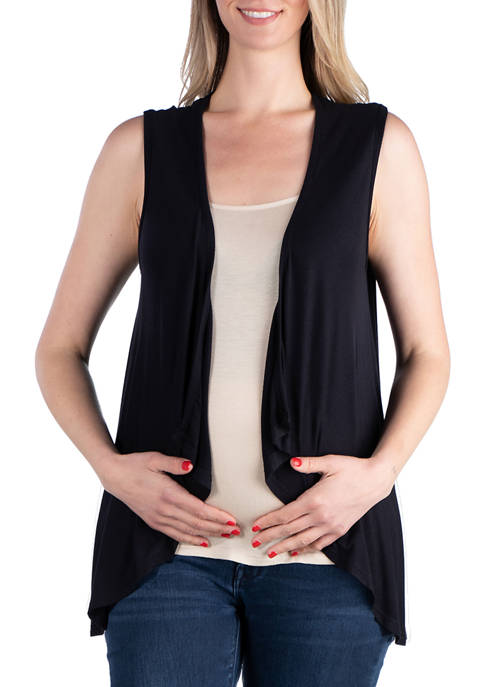 24seven Comfort Apparel Maternity Sleeveless Open Front Cardigan