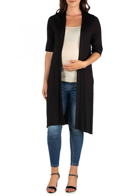 Maternity Knee Length Elbow Sleeve Open Front Cardigan