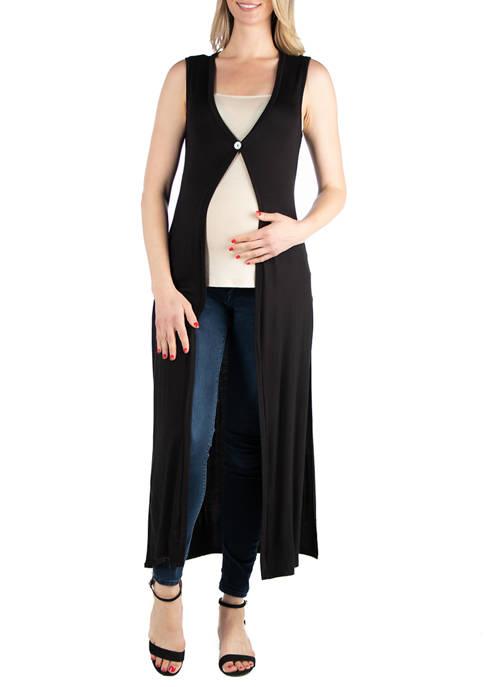24seven Comfort Apparel Maternity Sleeveless Cardigan Duster Vest