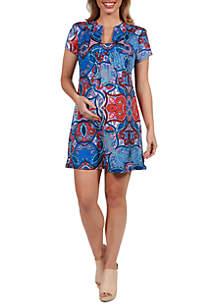 24seven Comfort Apparel Maternity Square Neck Short Sleeve Mini Dress