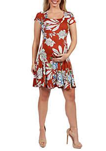 24seven Comfort Apparel Maternity Knee Length Short Sleeve Floral T Shirt Dress