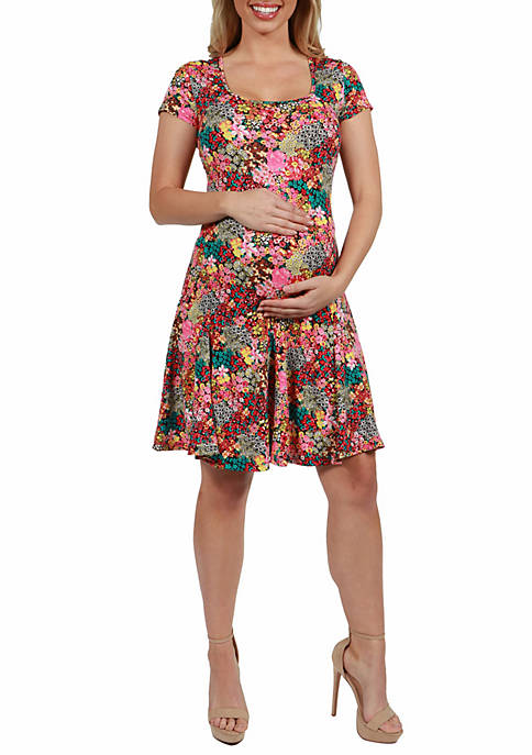 24seven Comfort Apparel Maternity Floral Knee Length Short