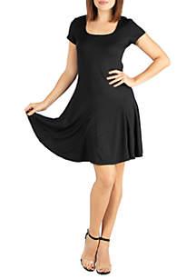 24seven Comfort Apparel Maternity Knee Length Short Sleeve T-Shirt Dress