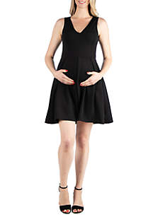 24seven Comfort Apparel Maternity Sleeveless Fit and Flare Pocket Dress